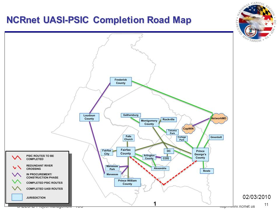 CAD2CAD Project Management - TUG 11 http://www.ncrnet.us 1 NCRnet UASI-PSIC Completion Road Map 02/03/2010