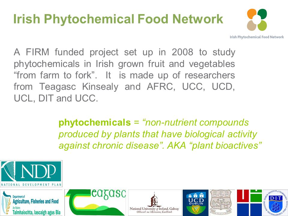 A FIRM funded project set up in 2008 to study phytochemicals in Irish grown fruit and vegetables from farm to fork .