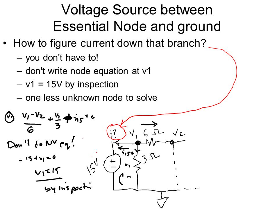 Voltage Source between Essential Node and ground How to figure current down that branch.