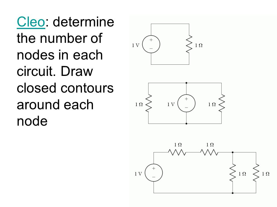 CleoCleo: determine the number of nodes in each circuit. Draw closed contours around each node