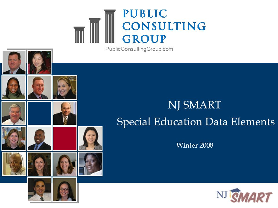 PublicConsultingGroup.com NJ SMART Special Education Data Elements Winter 2008