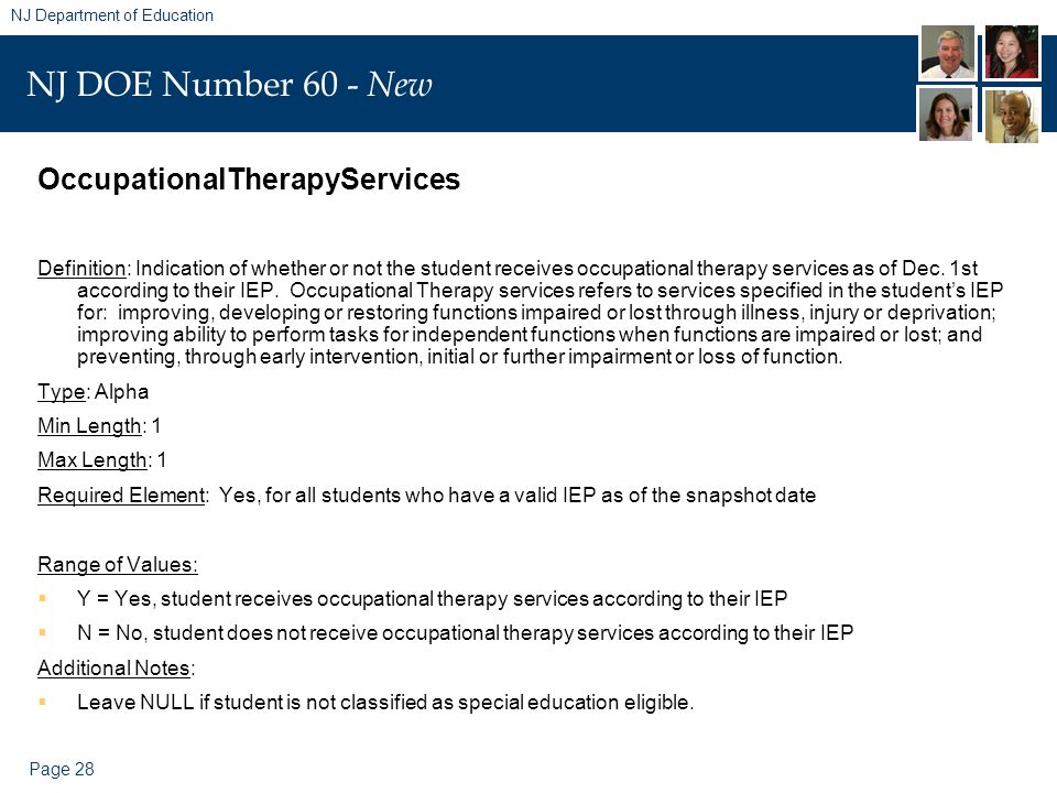 Page 28 NJ Department of Education NJ DOE Number 60 - New OccupationalTherapyServices Definition: Indication of whether or not the student receives occupational therapy services as of Dec.