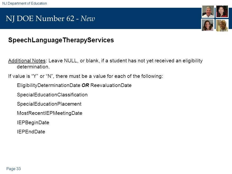 Page 33 NJ Department of Education NJ DOE Number 62 - New SpeechLanguageTherapyServices Additional Notes: Leave NULL, or blank, if a student has not yet received an eligibility determination.