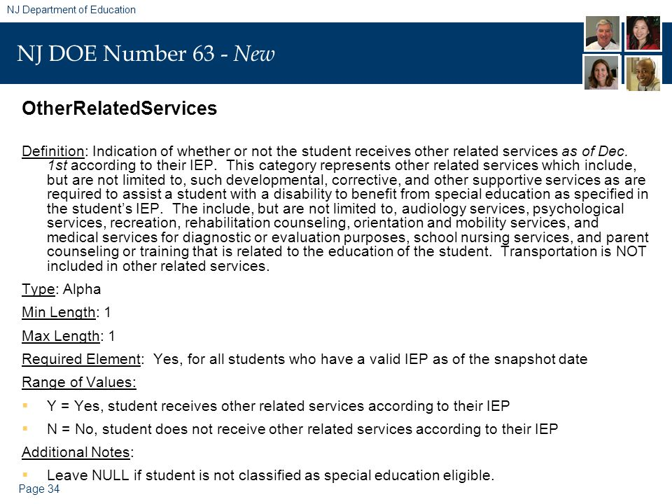 Page 34 NJ Department of Education NJ DOE Number 63 - New OtherRelatedServices Definition: Indication of whether or not the student receives other related services as of Dec.