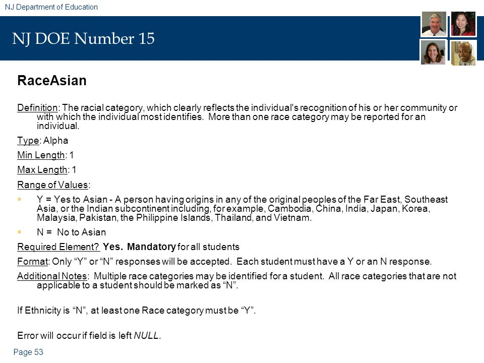 Page 53 NJ Department of Education NJ DOE Number 15 RaceAsian Definition: The racial category, which clearly reflects the individual s recognition of his or her community or with which the individual most identifies.