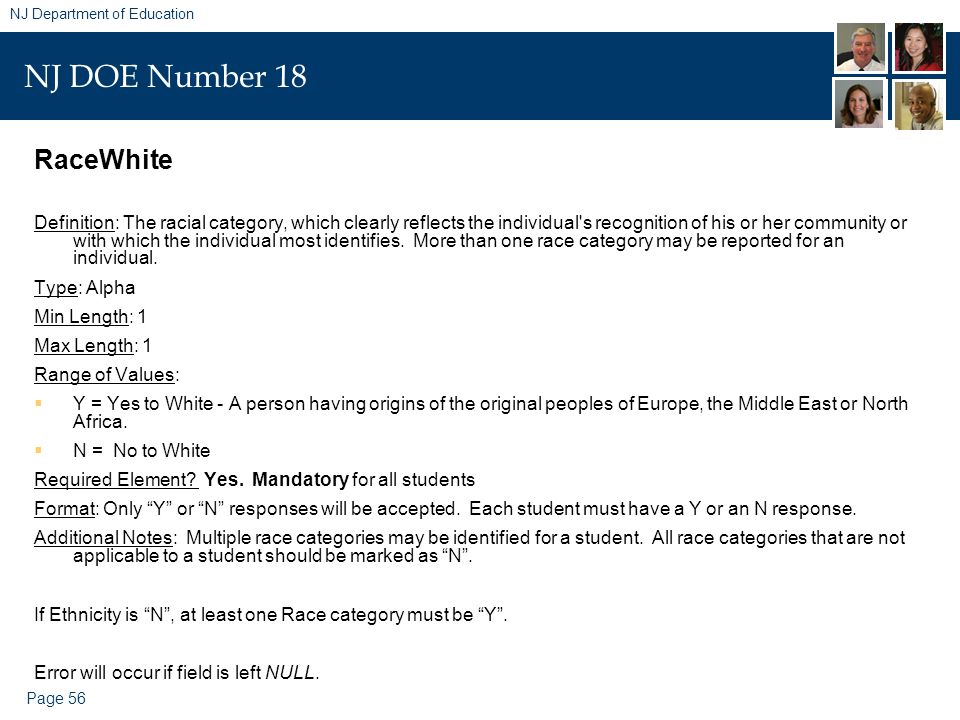 Page 56 NJ Department of Education NJ DOE Number 18 RaceWhite Definition: The racial category, which clearly reflects the individual s recognition of his or her community or with which the individual most identifies.