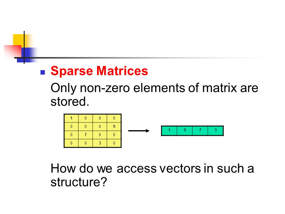 Sparse Matrices Only non-zero elements of matrix are stored.