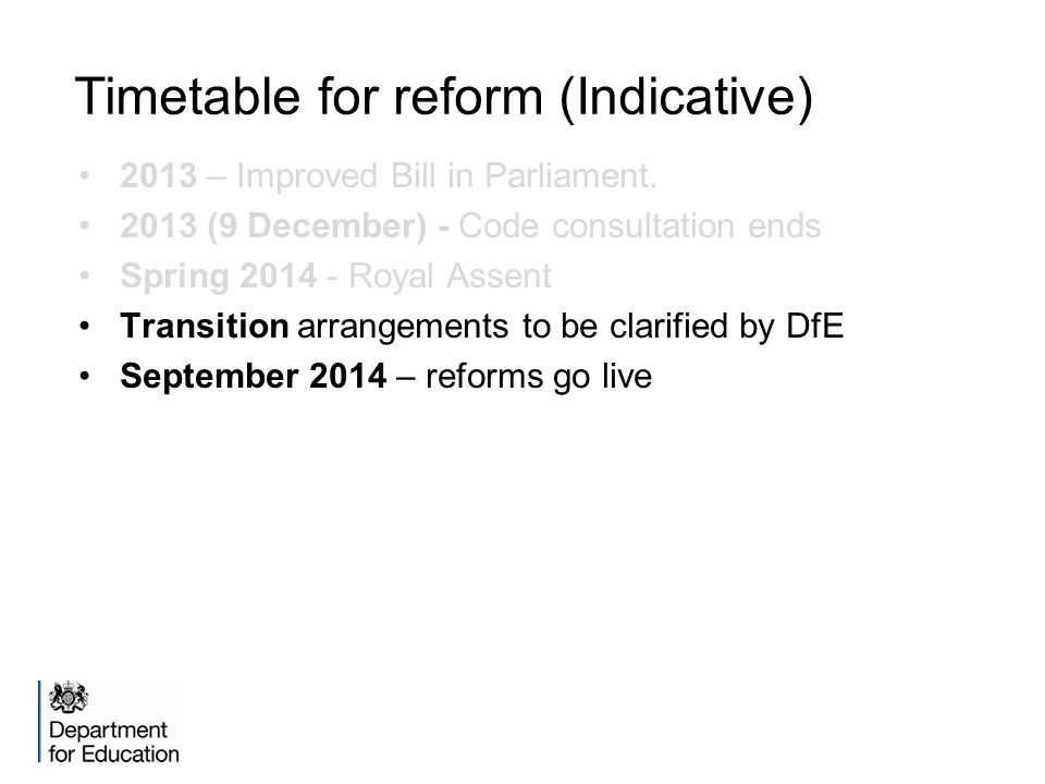 Timetable for reform (Indicative) 2013 – Improved Bill in Parliament.