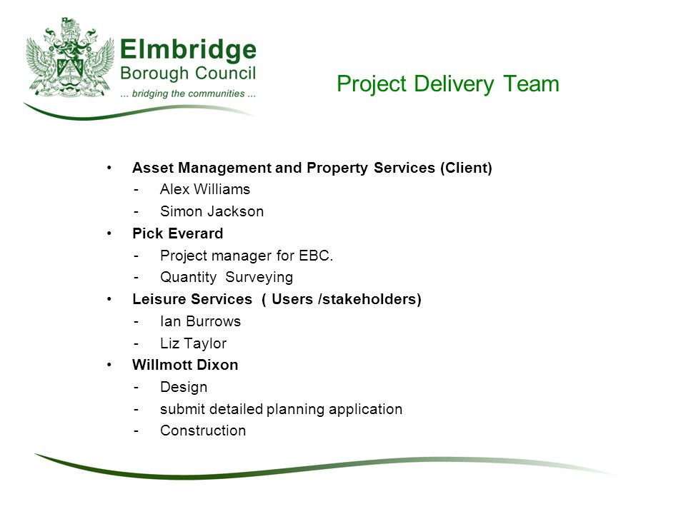 Project Delivery Team Asset Management and Property Services (Client) -Alex Williams -Simon Jackson Pick Everard - Project manager for EBC.