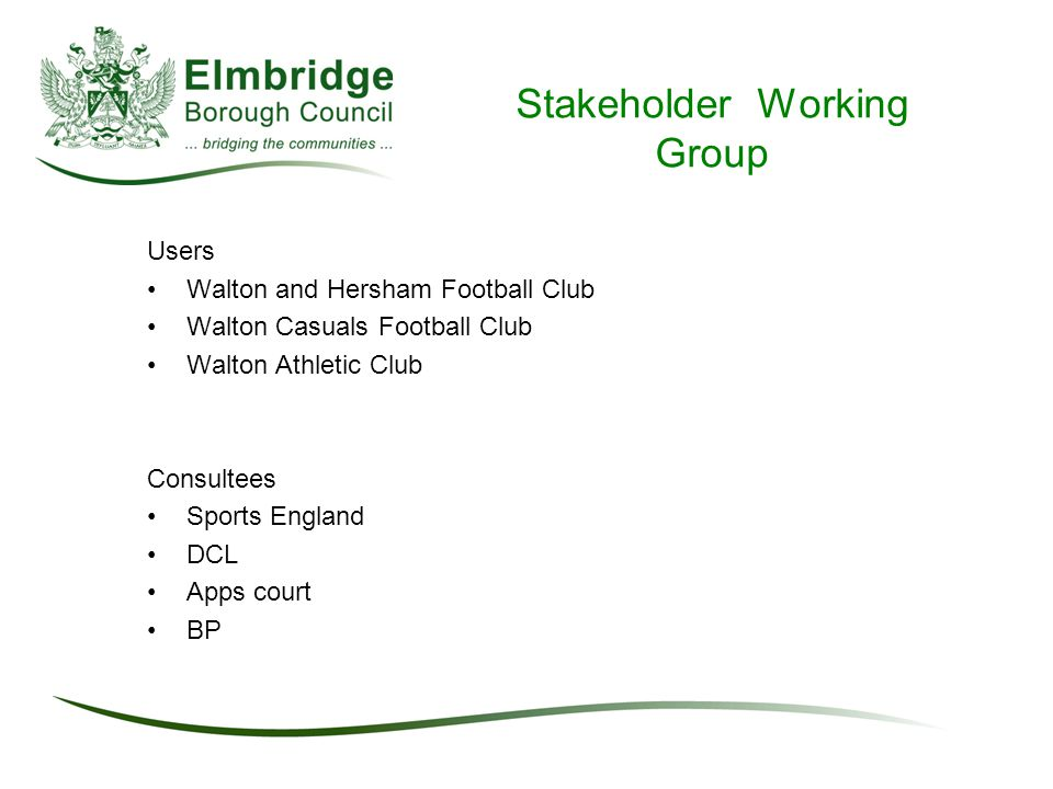Stakeholder Working Group Users Walton and Hersham Football Club Walton Casuals Football Club Walton Athletic Club Consultees Sports England DCL Apps court BP
