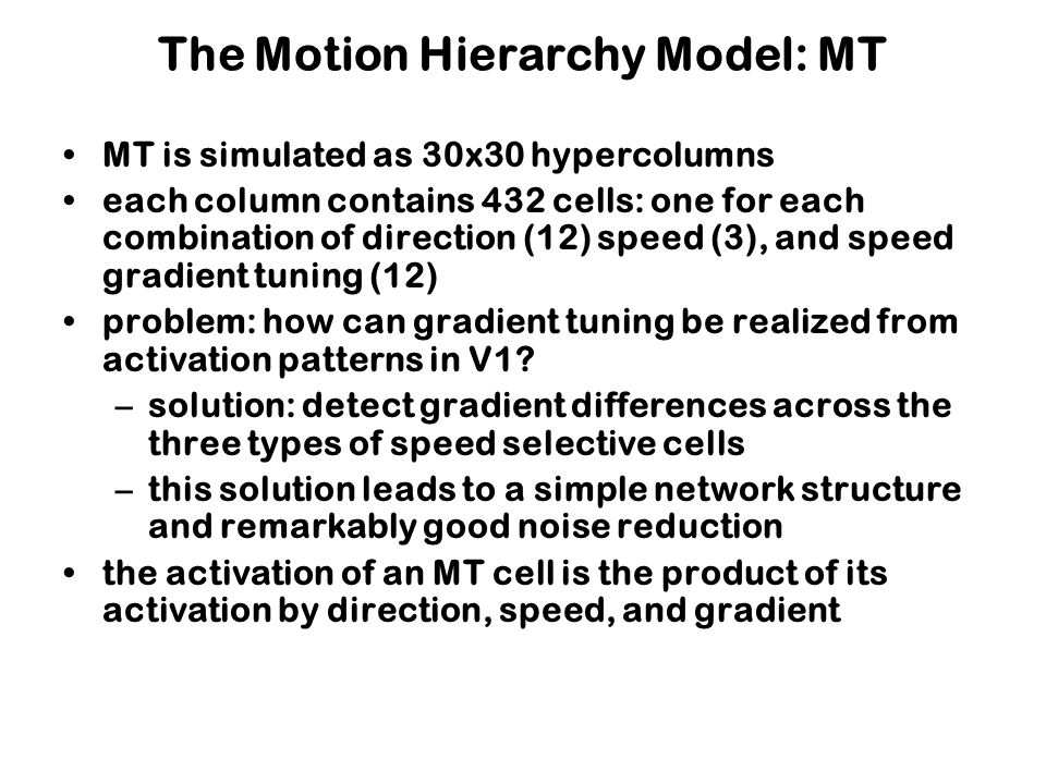 The Motion Hierarchy Model: MT MT is simulated as 30x30 hypercolumns each column contains 432 cells: one for each combination of direction (12) speed (3), and speed gradient tuning (12) problem: how can gradient tuning be realized from activation patterns in V1.