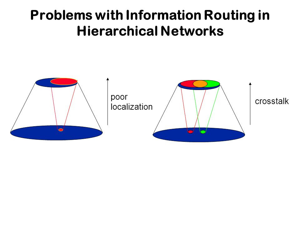 poor localization crosstalk Problems with Information Routing in Hierarchical Networks