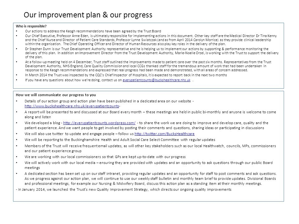 Our improvement plan & our progress Who is responsible.