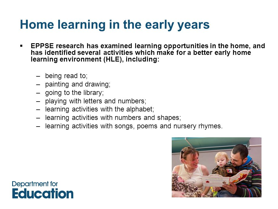 Home learning in the early years  EPPSE research has examined learning opportunities in the home, and has identified several activities which make for a better early home learning environment (HLE), including: –being read to; –painting and drawing; –going to the library; –playing with letters and numbers; –learning activities with the alphabet; –learning activities with numbers and shapes; –learning activities with songs, poems and nursery rhymes.
