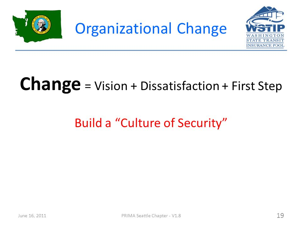 Organizational Change Change = Vision + Dissatisfaction + First Step Build a Culture of Security June 16, 2011PRIMA Seattle Chapter - V1.8 19