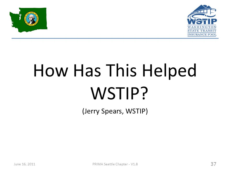 How Has This Helped WSTIP (Jerry Spears, WSTIP) June 16, 2011PRIMA Seattle Chapter - V1.8 37