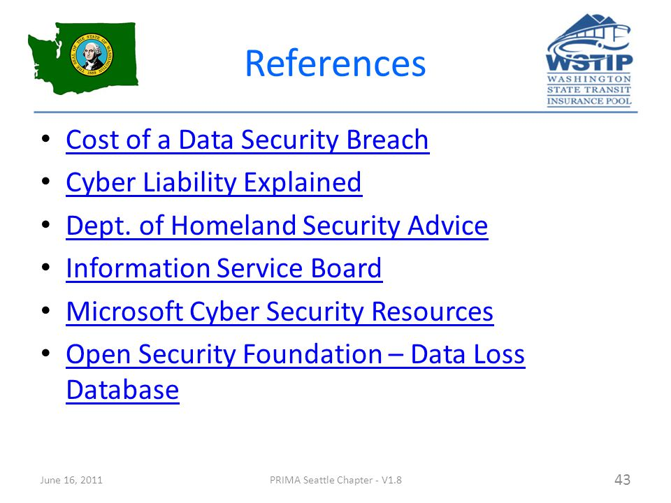 References Cost of a Data Security Breach Cyber Liability Explained Dept.