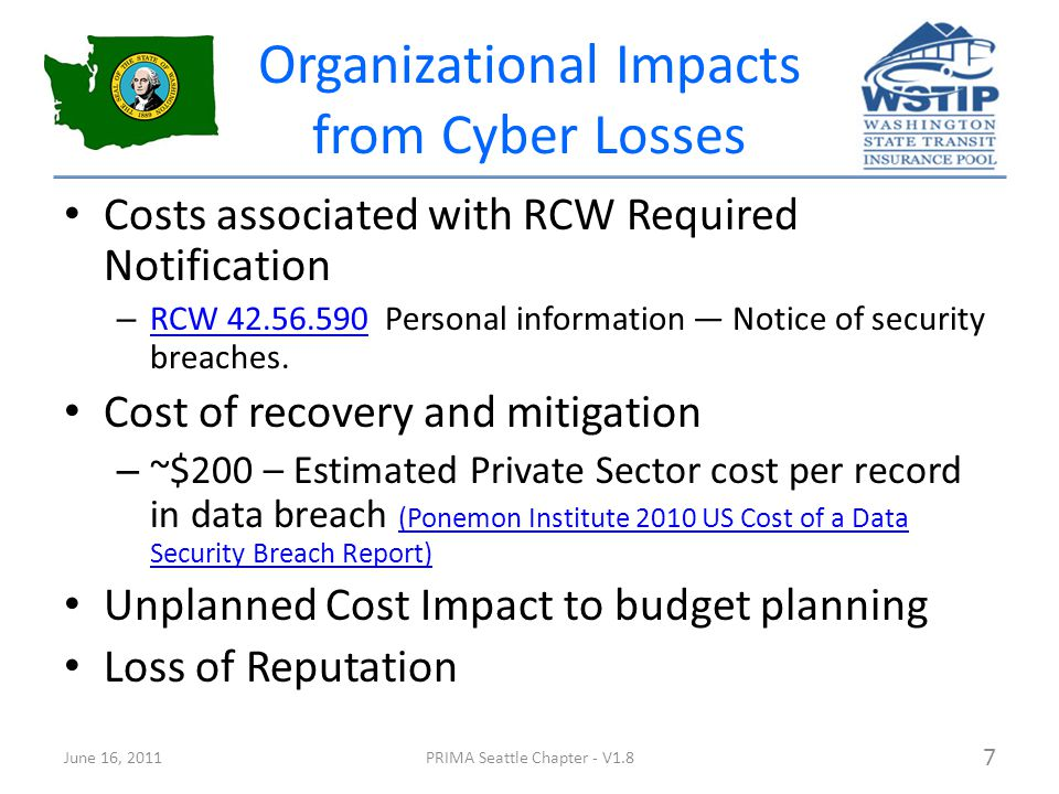 Organizational Impacts from Cyber Losses Costs associated with RCW Required Notification – RCW 42.56.590 Personal information — Notice of security breaches.