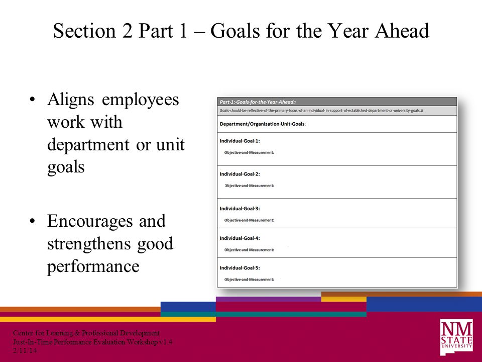 Center for Learning & Professional Development Just-In-Time Performance Evaluation Workshop v1.4 2/11/14 Section 2 Part 1 – Goals for the Year Ahead Aligns employees work with department or unit goals Encourages and strengthens good performance