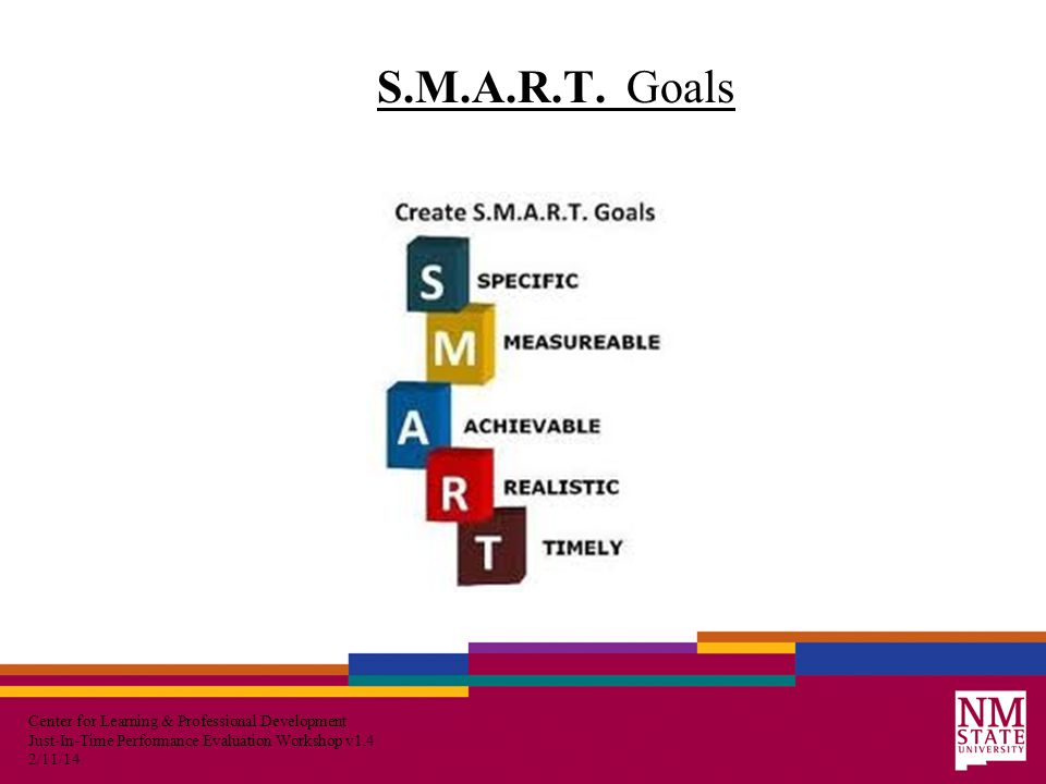 Center for Learning & Professional Development Just-In-Time Performance Evaluation Workshop v1.4 2/11/14 S.M.A.R.T.