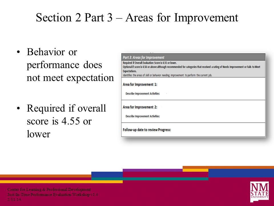 Center for Learning & Professional Development Just-In-Time Performance Evaluation Workshop v1.4 2/11/14 Section 2 Part 3 – Areas for Improvement Behavior or performance does not meet expectation Required if overall score is 4.55 or lower
