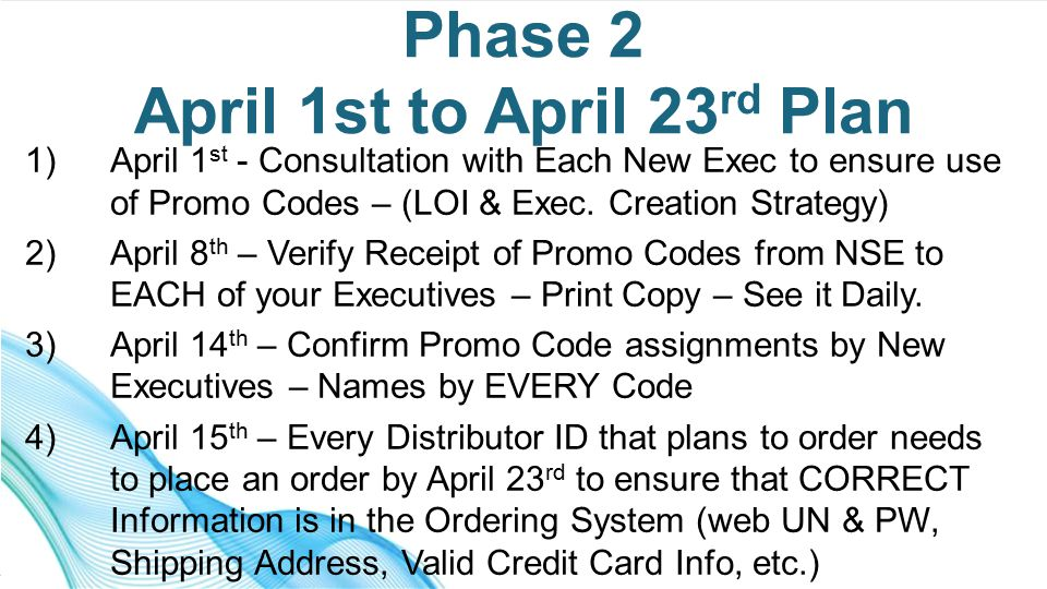 1)April 1 st - Consultation with Each New Exec to ensure use of Promo Codes – (LOI & Exec.