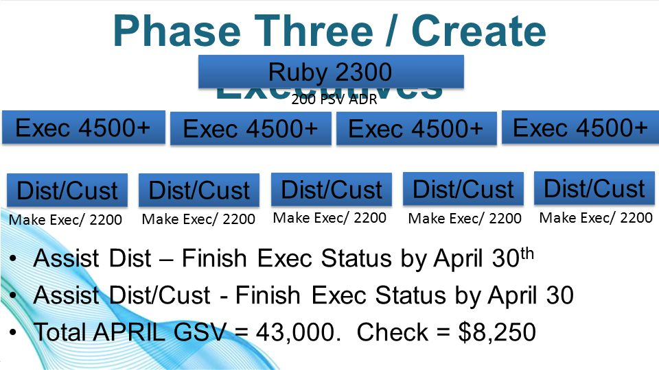 Assist Dist – Finish Exec Status by April 30 th Assist Dist/Cust - Finish Exec Status by April 30 Total APRIL GSV = 43,000.