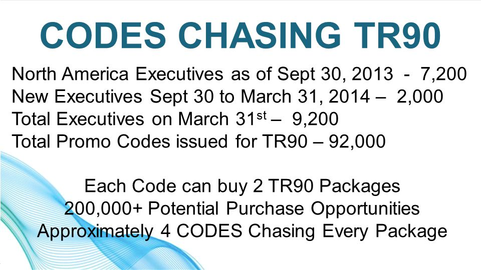 North America Executives as of Sept 30, 2013 - 7,200 New Executives Sept 30 to March 31, 2014 – 2,000 Total Executives on March 31 st – 9,200 Total Promo Codes issued for TR90 – 92,000 Each Code can buy 2 TR90 Packages 200,000+ Potential Purchase Opportunities Approximately 4 CODES Chasing Every Package CODES CHASING TR90