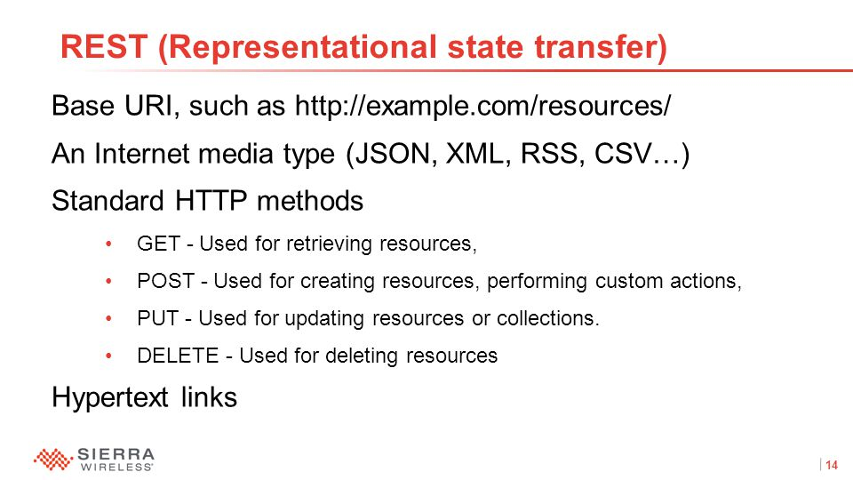 14Proprietary and Confidential REST (Representational state transfer) Base URI, such as http://example.com/resources/ An Internet media type (JSON, XML, RSS, CSV…) Standard HTTP methods GET - Used for retrieving resources, POST - Used for creating resources, performing custom actions, PUT - Used for updating resources or collections.