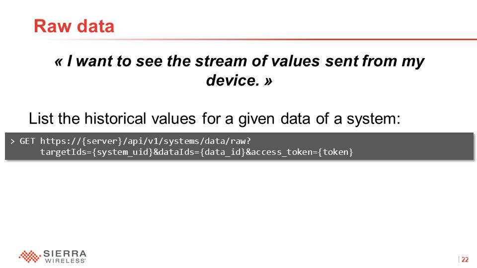 22Proprietary and Confidential « I want to see the stream of values sent from my device.
