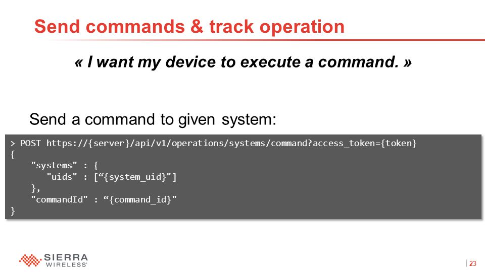 23Proprietary and Confidential « I want my device to execute a command.