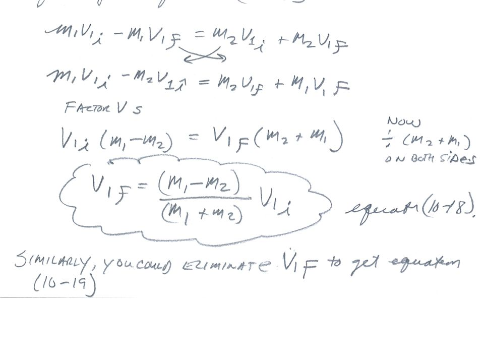 Collisions Deriving Some Equations For Specific Situations In The