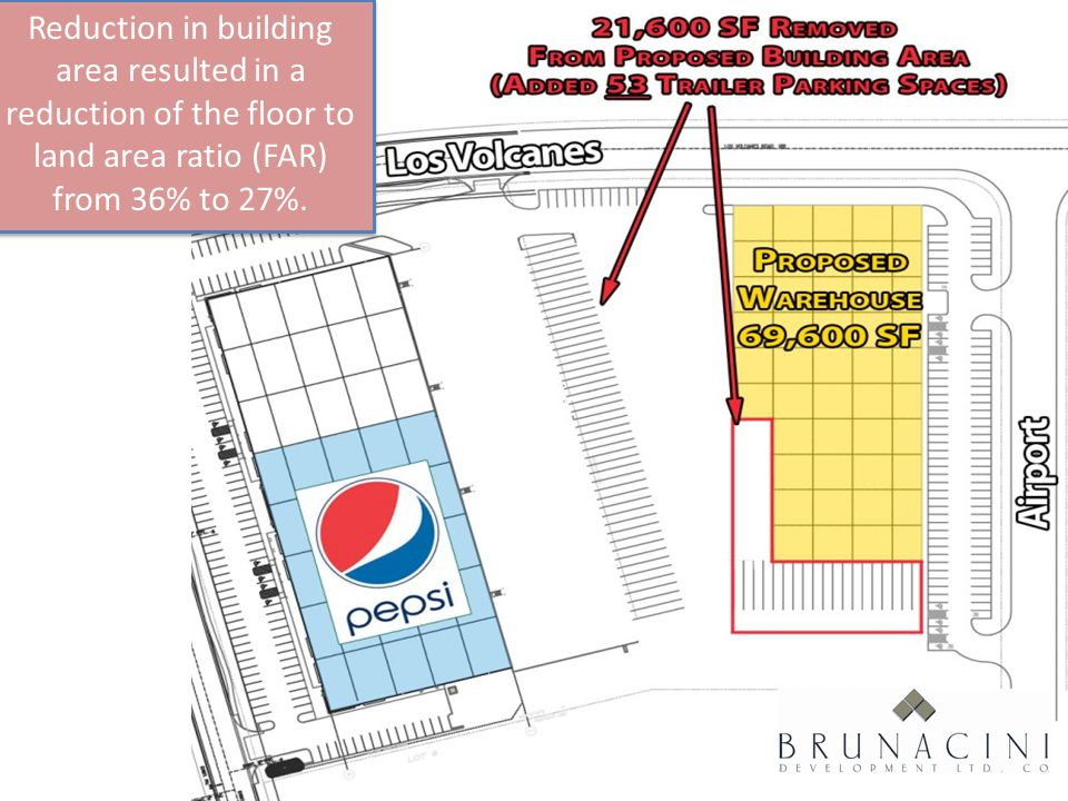 Society of Industrial and Office REALTORS® Reduction in building area resulted in a reduction of the floor to land area ratio (FAR) from 36% to 27%.