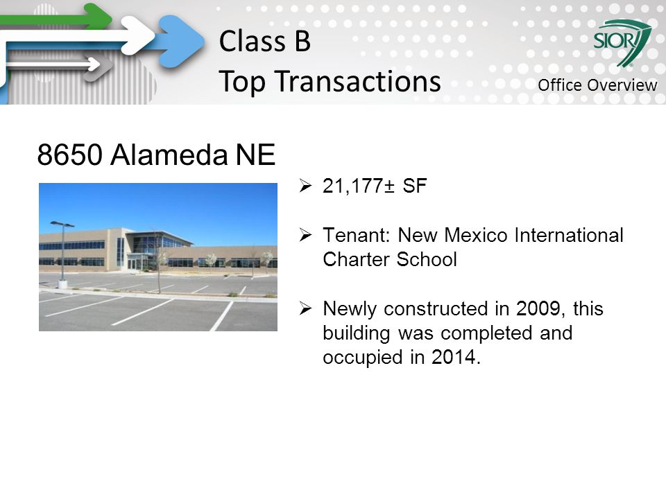 Society of Industrial and Office REALTORS® 8650 Alameda NE  21,177± SF  Tenant: New Mexico International Charter School  Newly constructed in 2009, this building was completed and occupied in 2014.