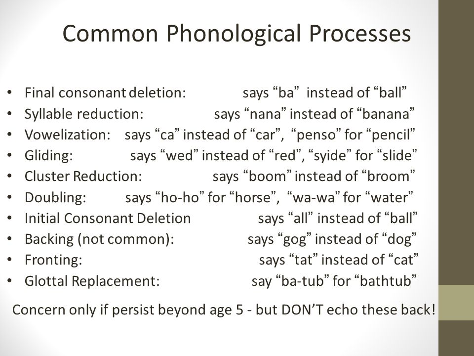 Common Phonological Processes Final consonant deletion: says ba instead of ball Syllable reduction: says nana instead of banana Vowelization: says ca instead of car , penso for pencil Gliding: says wed instead of red , syide for slide Cluster Reduction: says boom instead of broom Doubling: says ho-ho for horse , wa-wa for water Initial Consonant Deletion says all instead of ball Backing (not common): says gog instead of dog Fronting: says tat instead of cat Glottal Replacement: say ba-tub for bathtub Concern only if persist beyond age 5 - but DON'T echo these back!