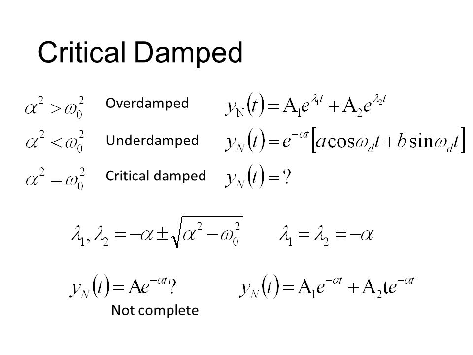 Critical Damped Underdamped Overdamped Critical damped Not complete