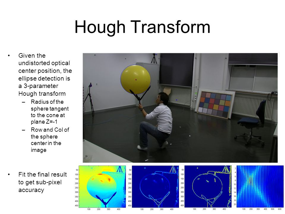 6 Hough Transform Given the undistorted optical center position, the ellipse detection is a 3-parameter Hough transform –Radius of the sphere tangent to the cone at plane Z=-1 –Row and Col of the sphere center in the image Fit the final result to get sub-pixel accuracy