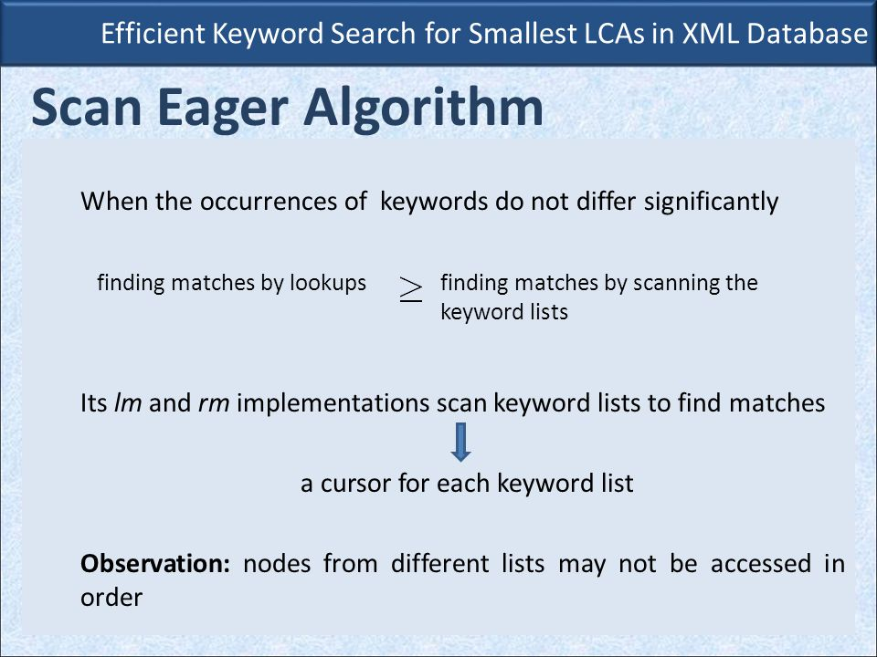 When the occurrences of keywords do not differ significantly Its lm and rm implementations scan keyword lists to find matches a cursor for each keyword list Observation: nodes from different lists may not be accessed in order Efficient Keyword Search for Smallest LCAs in XML Database Scan Eager Algorithm finding matches by lookupsfinding matches by scanning the keyword lists