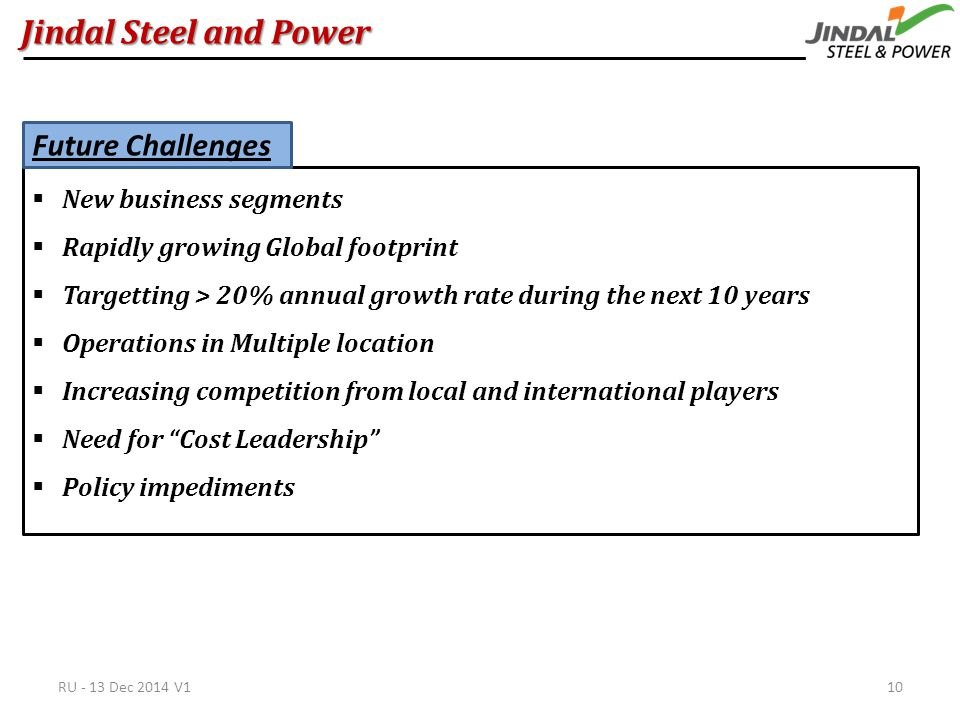 Jindal Steel and Power  New business segments  Rapidly growing Global footprint  Targetting > 20% annual growth rate during the next 10 years  Operations in Multiple location  Increasing competition from local and international players  Need for Cost Leadership  Policy impediments Future Challenges RU - 13 Dec 2014 V110