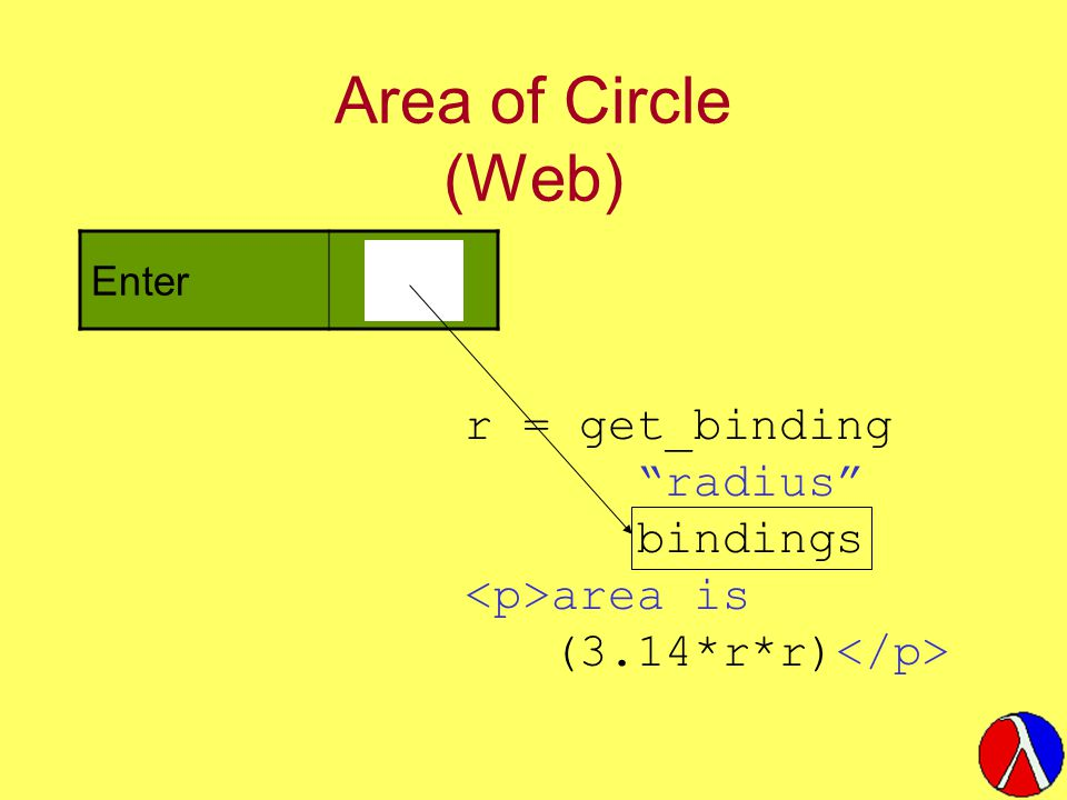 Area of Circle (Web) Enter radius: r = get_binding radius bindings area is (3.14*r*r)