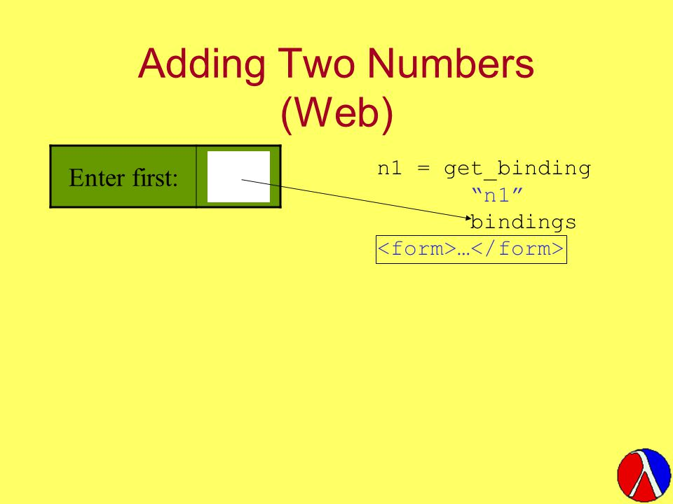 Adding Two Numbers (Web) Enter first: n1 = get_binding n1 bindings …