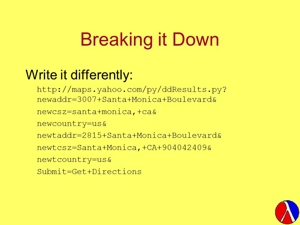 Breaking it Down Write it differently: http://maps.yahoo.com/py/ddResults.py.