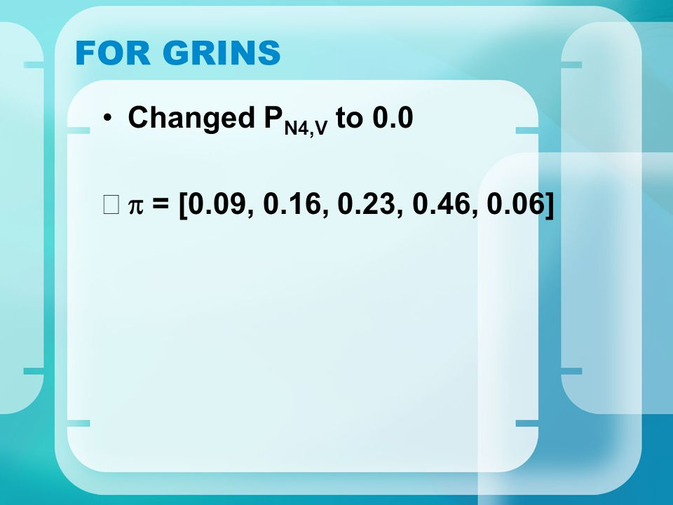 FOR GRINS Changed P N4,V to 0.0  = [0.09, 0.16, 0.23, 0.46, 0.06]