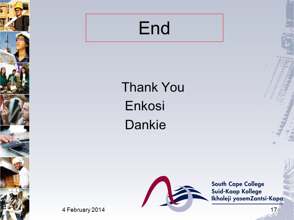 End Thank You Enkosi Dankie 4 February 201417