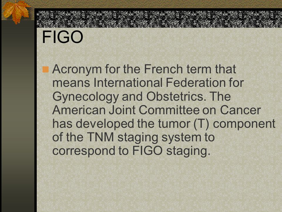 FIGO Acronym for the French term that means International Federation for Gynecology and Obstetrics.