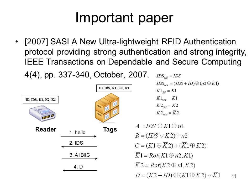 11 Important paper [2007] SASI A New Ultra-lightweight RFID Authentication protocol providing strong authentication and strong integrity, IEEE Transactions on Dependable and Secure Computing 4(4), pp.
