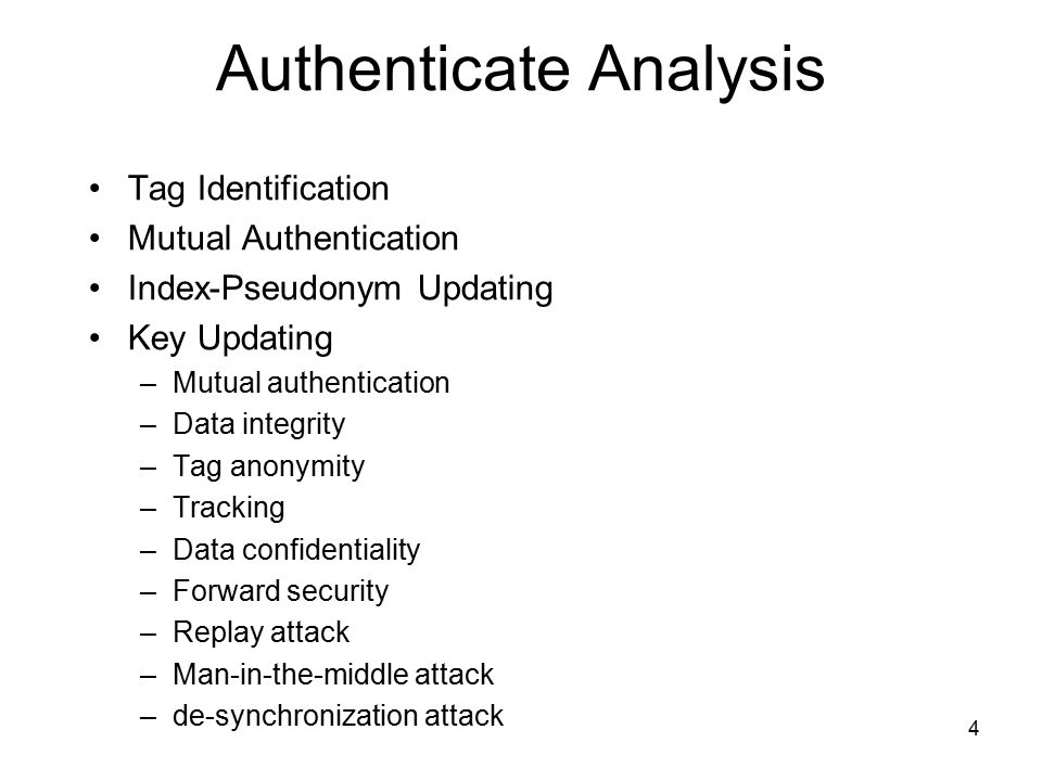 4 Authenticate Analysis Tag Identification Mutual Authentication Index-Pseudonym Updating Key Updating –Mutual authentication –Data integrity –Tag anonymity –Tracking –Data confidentiality –Forward security –Replay attack –Man-in-the-middle attack –de-synchronization attack