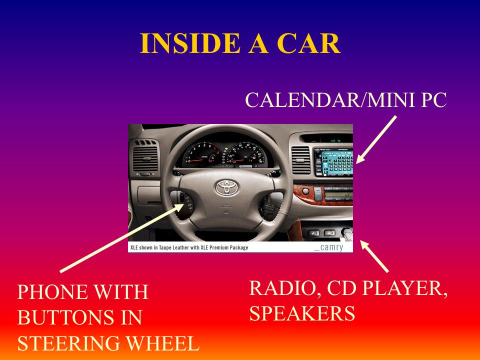 INSIDE A CAR CALENDAR/MINI PC PHONE WITH BUTTONS IN STEERING WHEEL RADIO, CD PLAYER, SPEAKERS