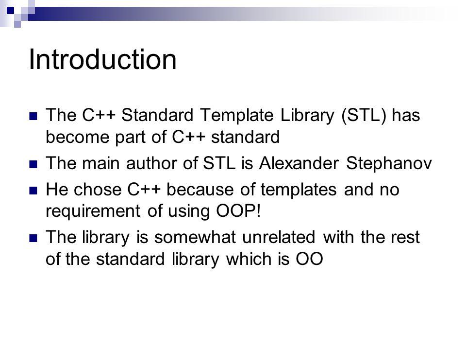 Stl Antonio Cisternino Introduction The C Standard Template