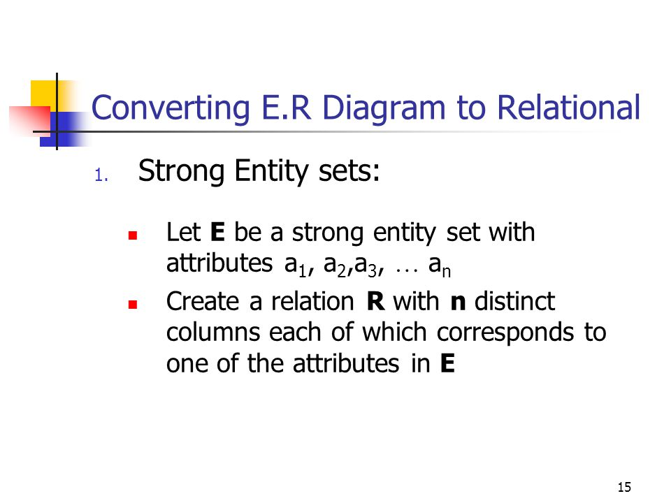 15 Converting E.R Diagram to Relational 1.